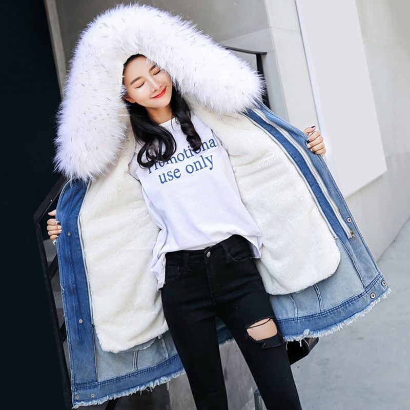 Winter Women Outerwear 2018 New Thickening Loose Female Denim Cotton Jacket Hooded Fur Collar Medium Long Ladies Parkas Cw167