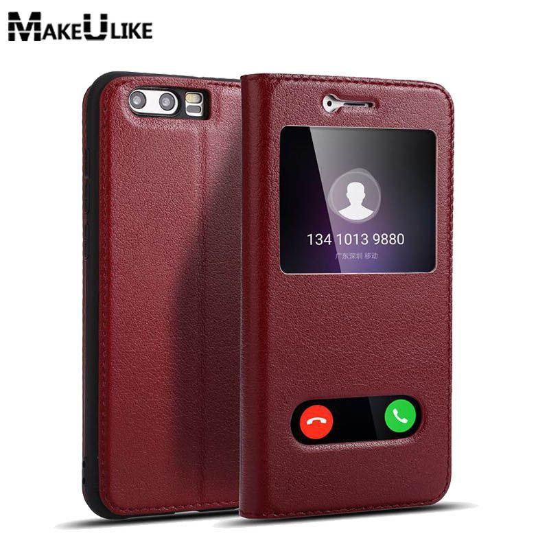 MAKEULIKE Window View Flip Cas Pour Huawei Honor 9 Honor9 Housse De Protection En Cuir Véritable Magnétique Coque Pour L'honneur 9 Téléphone cas