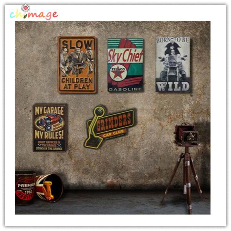Irrégulier ombre Vintage étain signe plaque Bar pub maison café Restaurant mur décor rétro métal ART