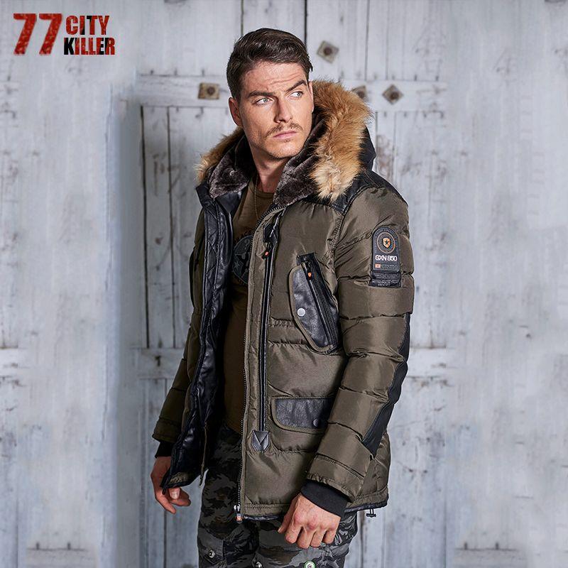 77City Killer Autumn Winter Long Parka Men Casual Slim Fit Hood Winter Jackets Mens Lovers Coat Cotton Windbreak Outwear P913