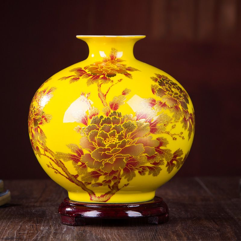 Nouveau Style chinois Vase Jingdezhen jaune cristal glaçure fleur Vase décor à la maison à la main brillant Famille Rose Vases