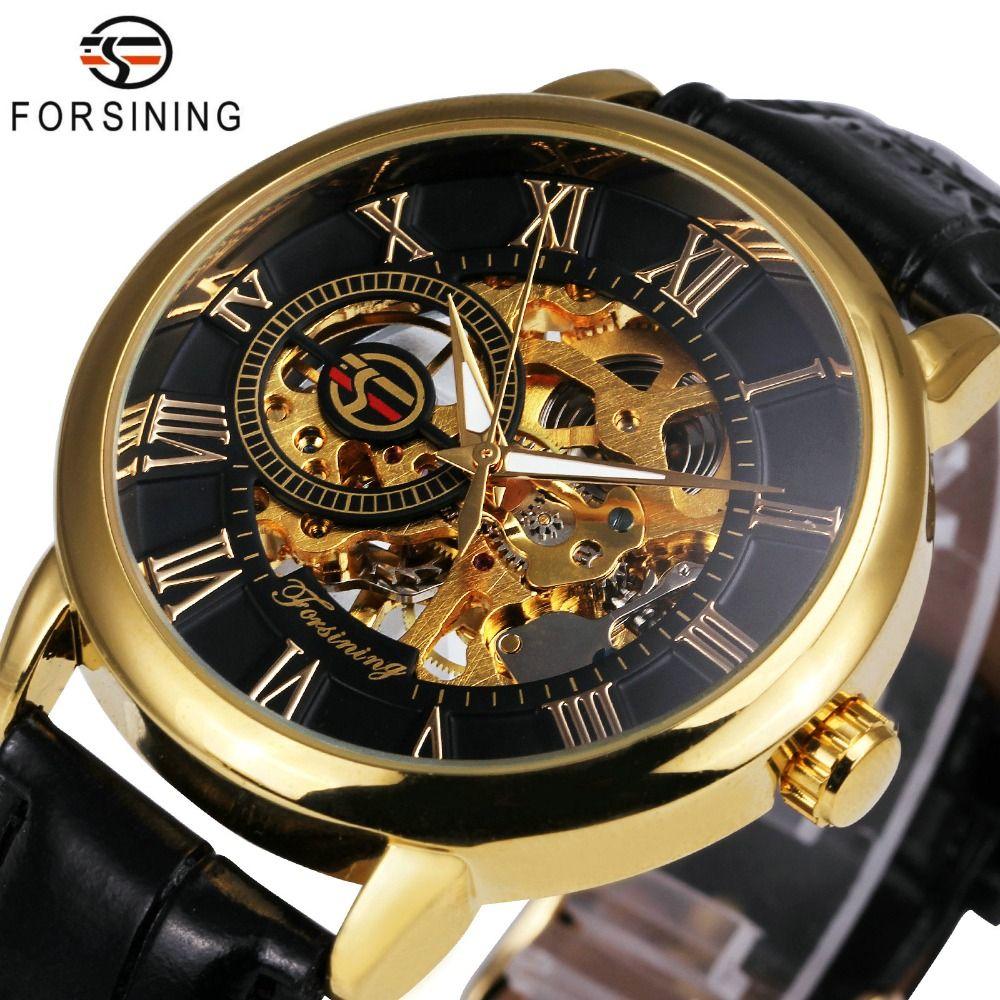 2018 FORSINING 3D Logo Black <font><b>Gold</b></font> Men Mechanical Watch Montre Homme Man Watches Top Brand Luxury Leather WINNER Skeleton Design