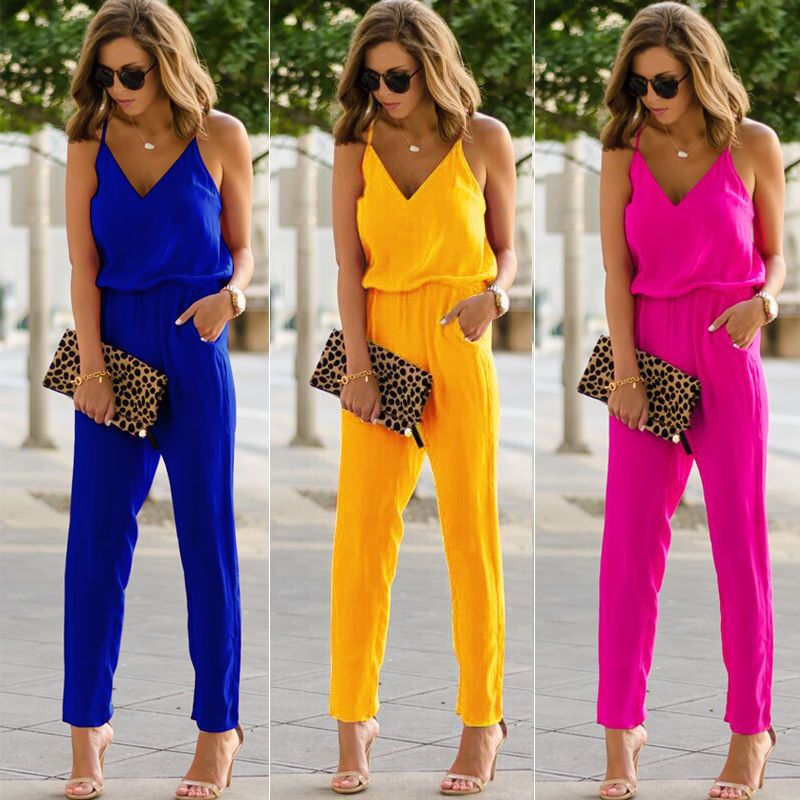 High Street Summer Vacation Fashion Casual Women Sexy Strap V Neck Solid Empire Slim Sleeveless Bodycon Jumpsuit Romper Trousers