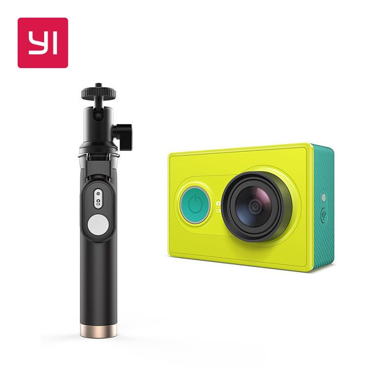 YI Action Camera 1080P Lime Green White 16MP Full HD 155 degree Ultra-wide Angle WiFi Sports Mini Camera Selfie Stick Bundle