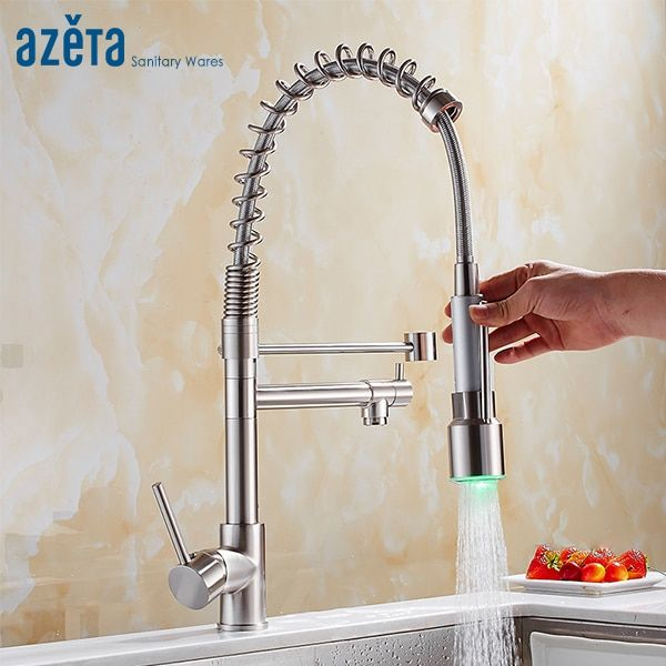 Azeta LED 360 Degree Rotation Kitchen Faucet Brass Brushed Nickel Dual Sprayer Pull Down Kitchen Mixer Tap MK9844LD