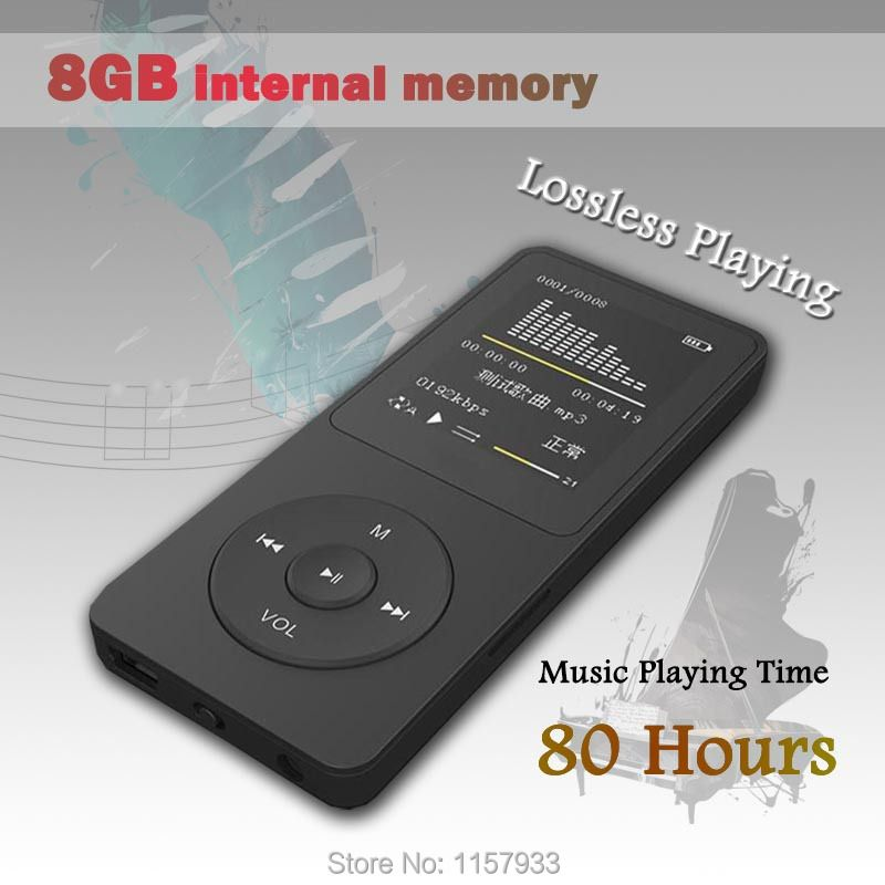 High quality real 8GB 80 Hours lossless Music playing MP3 player 1.8