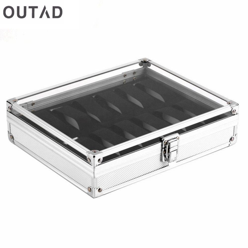 OUTAD 12 Grille Slots Montre Boîtes Bijoux Cercueil pour décor Boîte De Rangement Case Aluminium En Daim À L'intérieur de Conteneurs relogio 2018