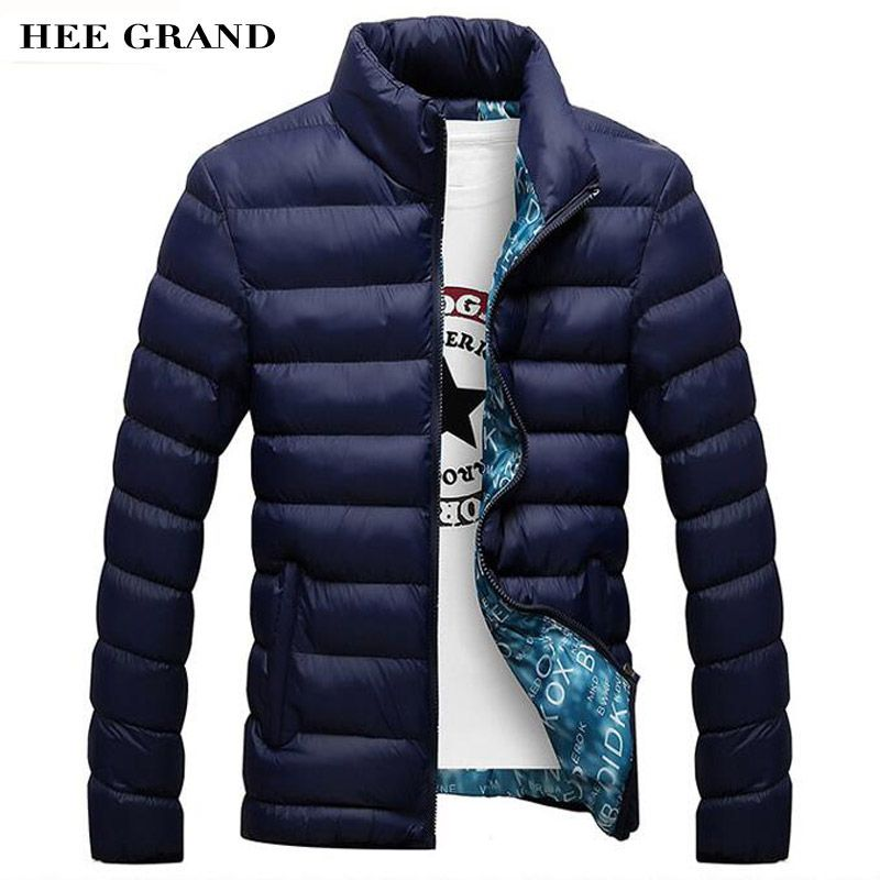 HEE GRAND Men's Fashion Casual Parkas Solid <font><b>Color</b></font> Stand Collar Cotton Material Slim Winter Outwear 4 <font><b>Colors</b></font> Plus Size MWM1380