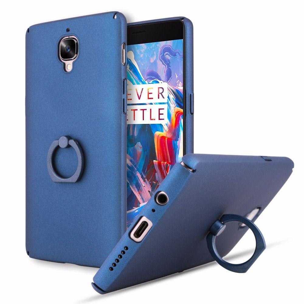 Ultra delgado Teléfono de la contraportada para Oneplus 3 3 T caso uno más 3 t 3 cajas de la pc dura cáscara del teléfono anillo hebilla para oneplus 3 3 T coque