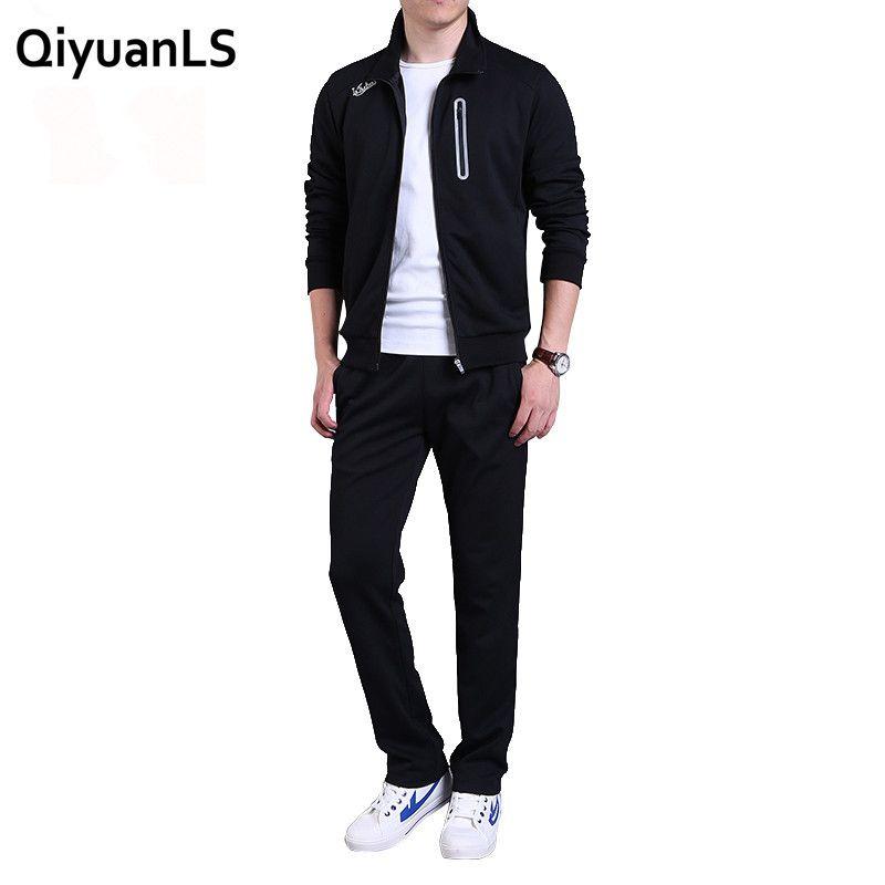 QiyuanLS männer trainingsanzug sportkleidung Sets sweatshirts casual anzug männer polyester atmungsaktiv Reißverschluss Outwear 2 STÜCK Jacke + Pants Sätze