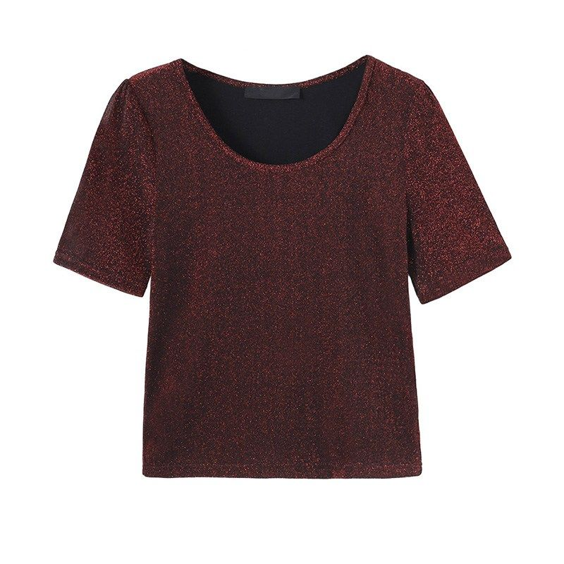 2018 Summer New Blinking T shirt Women Shiny T-shirt Fashion Elastic Short Sleeve Tee Shirt Woman Plus Size Female Cropped Top