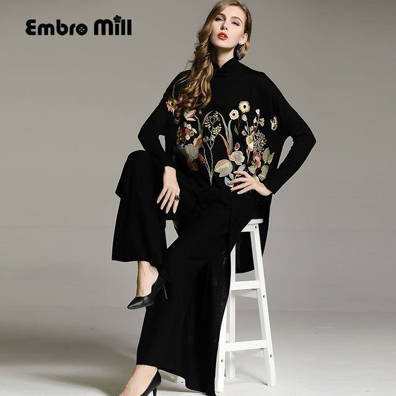Women black sweater Top Chinese style royal loose wool embroidery floral open stitch knit coat elegant lady female M-XXXL