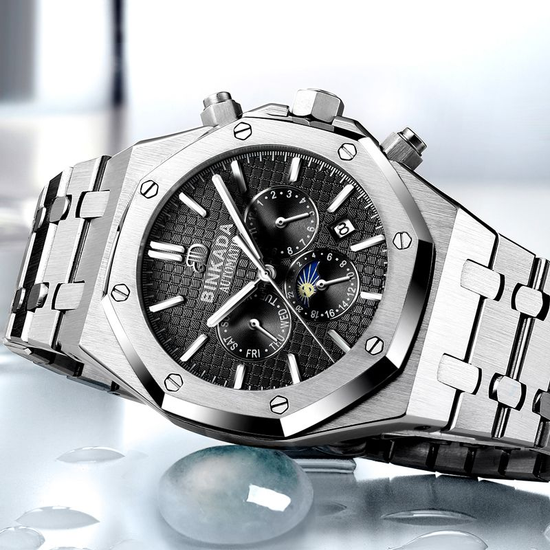 2018 New Luxury Brand BINKADA Men Watch Stainless Steel Mechanical Watches Men Sports Wristwatch Relogio Masculino relogio