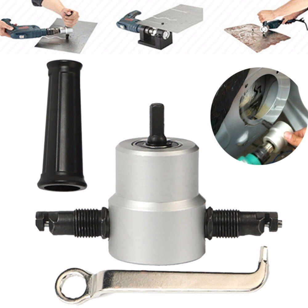 Professional Nibble Metal Cutter Double Head Sheet Nibbler Metal Cutter Drill Tool Attachment Metal Plate Open Hole Drill Tools