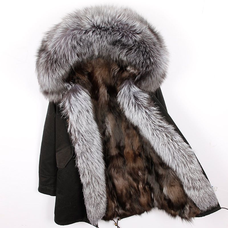 2018 New Natural Fox Fur Liner Long Winter Jacket Women Coat Natural Real Raccoon Fur Collar Hood Thick Warm Parkas Outerwear
