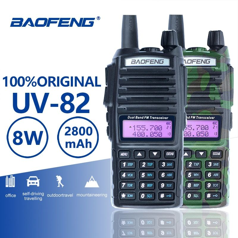 Baofeng UV-82 Walkie Talkie 10km Dual PTT Two Way Radio Dual Band Portable UV 82 Transceiver UV82 Woki Toki Ham CB Radio Station