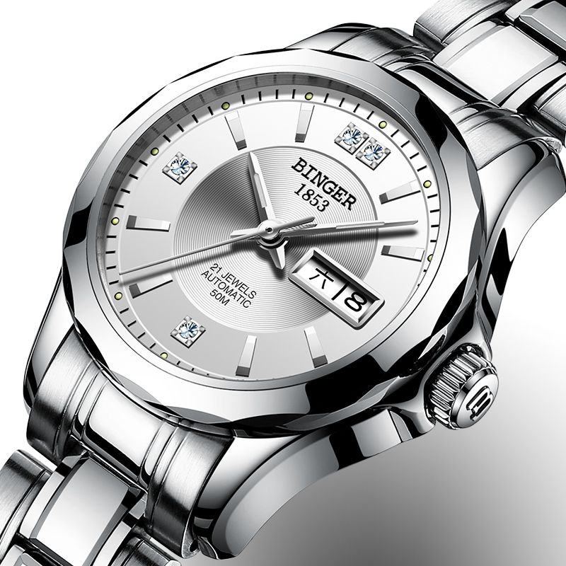 2017 Binger Watch Women Luxury Brand Japan Automatic Mechanical Movement Wrist Sapphire Waterproof Ladies Watch gold 8051