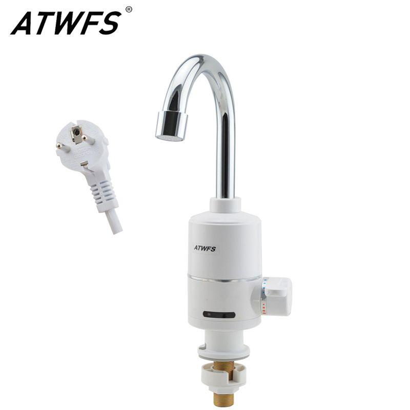 ATWFS Electric Instantaneous Water Heater Instant Hot Water Faucet Instant Electric Water Faucet Heating 3000W EU Plug