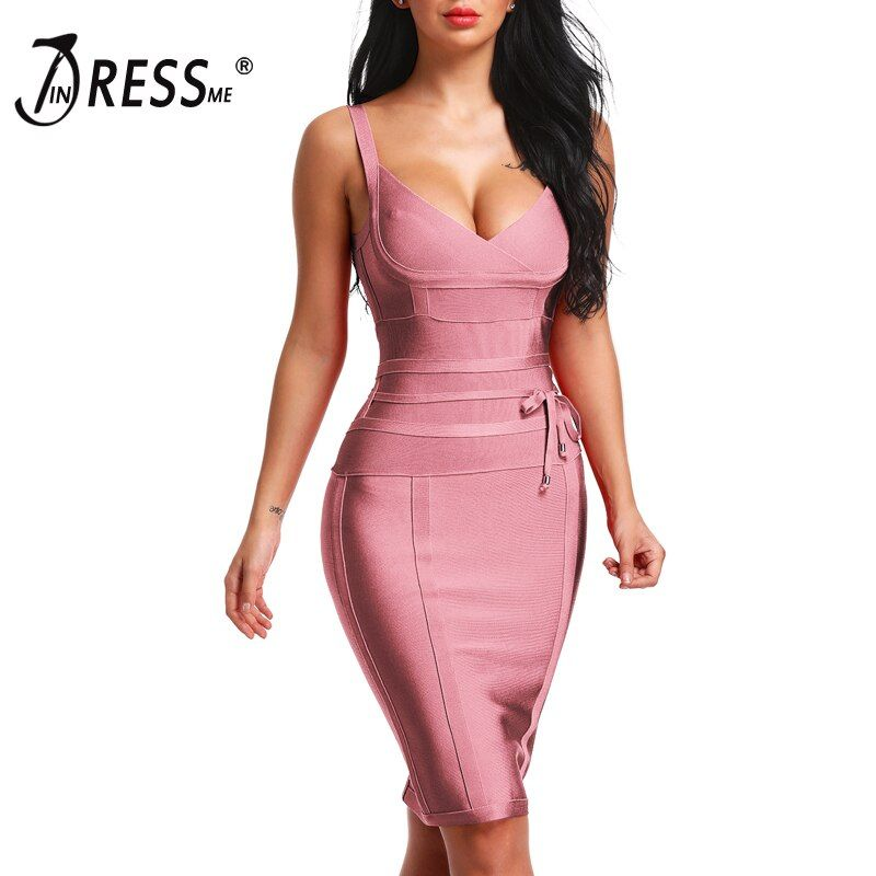 INDRESSME 2018 Women's Bandage Dress New Sexy Spaghetti Strap Deep V Backless Fashion Dress Bodycon Femme Vestidos Club Party