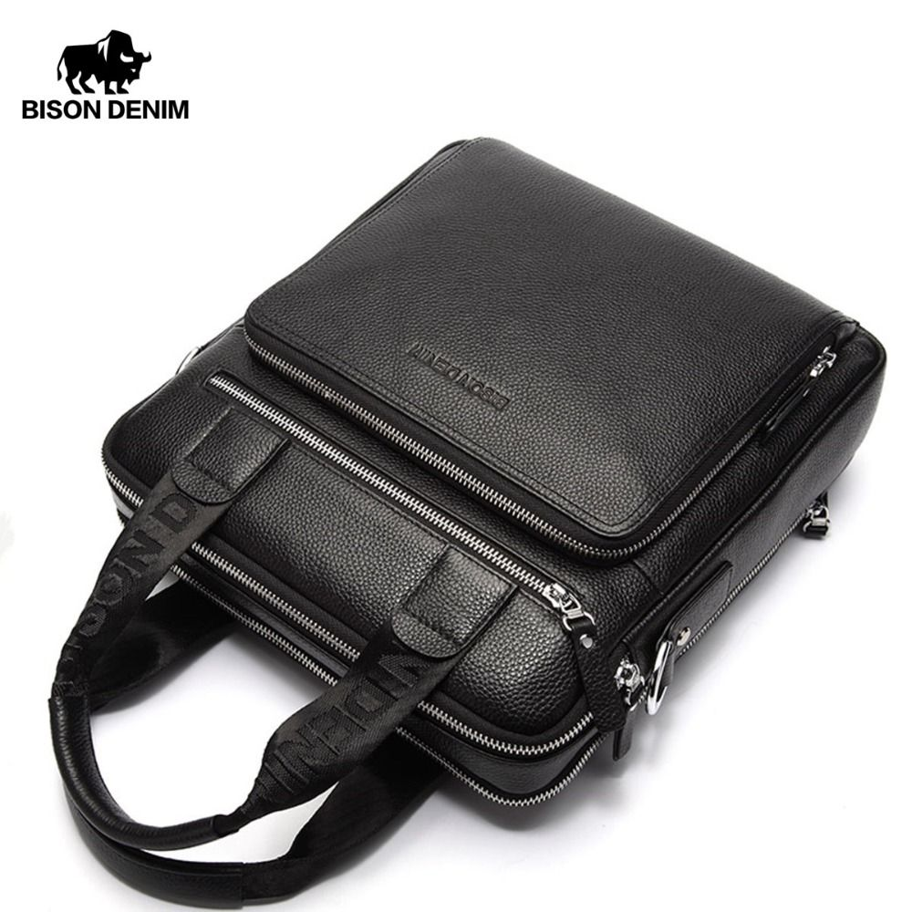 BISON DENIM Genuine Leather Guarantee Men's Briefcase Business Handbag High Quality Messenger ipad Laptop Bag Men's Tote N2333-2