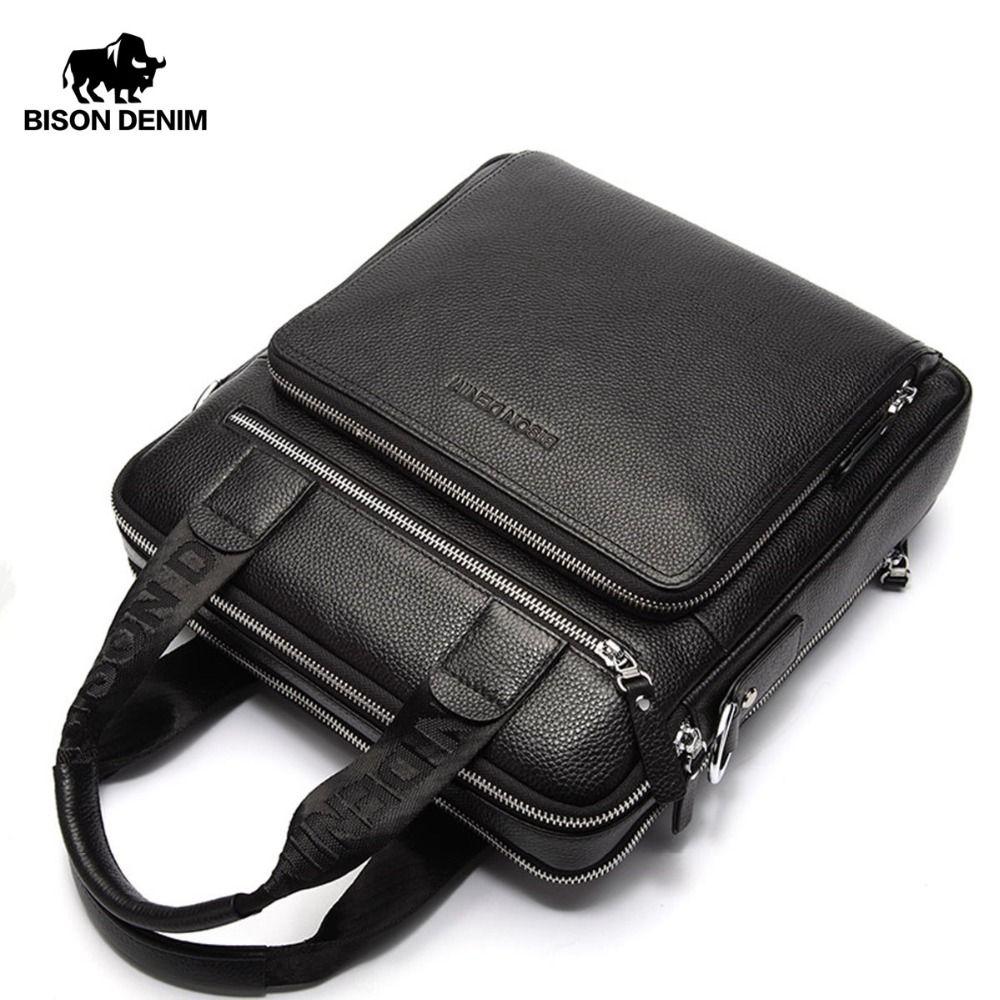 BISON DENIM Genuine Leather Guarantee Men's Briefcase Business Handbag High Quality Messenger ipad Laptop Bag Men's Tote N2333-2