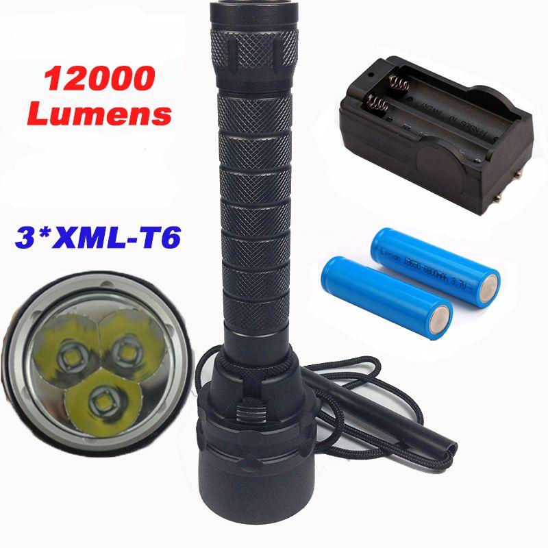 12000lumens Professional Diving Flashlight Torch 3xCREE XML-T6 Underwater 200 meter Diving <font><b>linternas</b></font> Waterproof Light Lamp