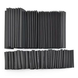 127 pcs/ensemble Assorties Thermorétractable Tube Noir Wire Wrap Isolation Électrique Câble Gaines 2-13mm