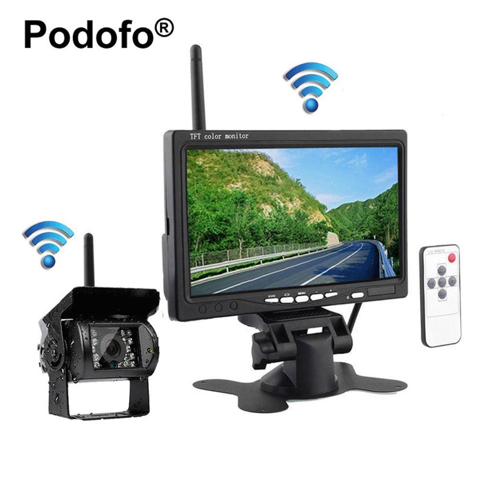 Podofo Drahtlose Lkw Fahrzeug Rückfahrkamera & 7 zoll HD IR Nachtsicht Einparkhilfe Wasserdicht Rückfahrkamera