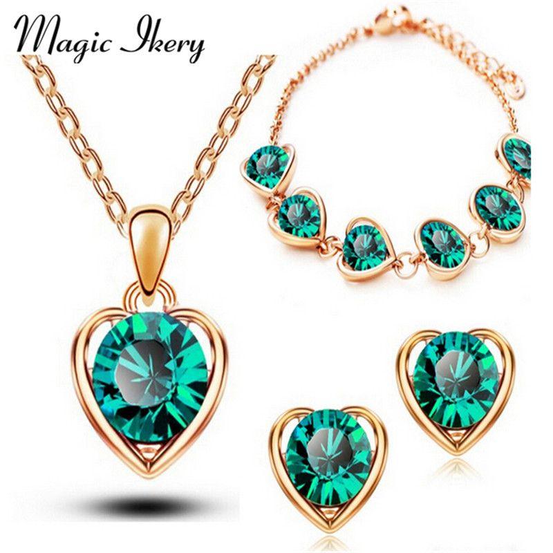 Magia Ikery Nueva Llegada del Color del Oro Corazón de Cristal Joyería de Traje de Moda para Las Mujeres Collar Pendientes Conjuntos MKL1331