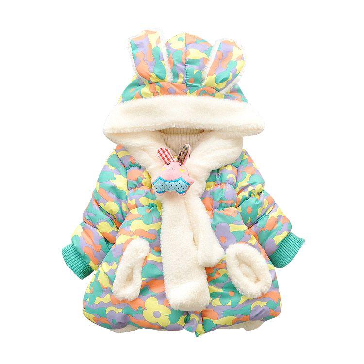 Зимние теплые Детские Зимний милый кролик уха с капюшоном и принтом для маленьких девочек верхняя одежда для новорожденных парка для девоч...