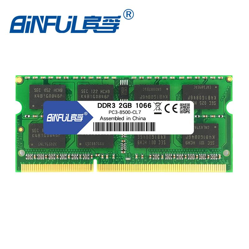 Binful Original New Brand DDR3 1066mhz 2GB PC3-8500S 204-Pin Laptop Notebook Memory RAM stock Free shipping