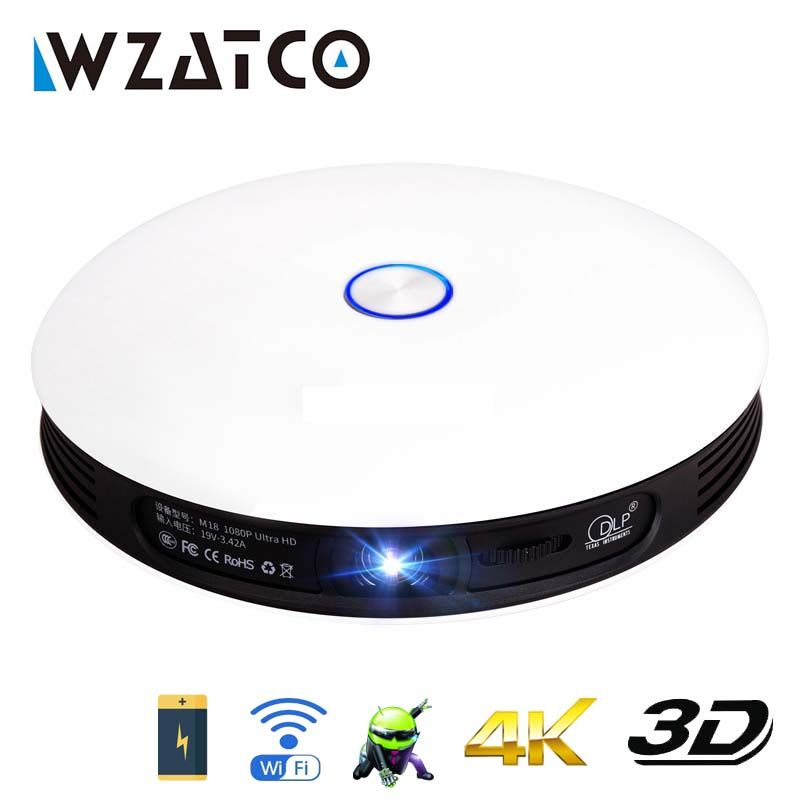WZATCO Volle HD 1080 P 4 K LED Aktive Mini DLP 3D Projektor Android Smart WIFI 12000 mAh Batterie Hause theater Cinem Beamer Proyector