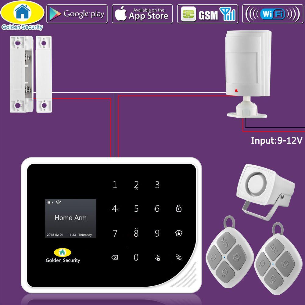 Golden Security DIY KIT S5 WIFI GSM Alarm Systems Security Home APP Control Wired PIR Motion Detector Door Window Sensor