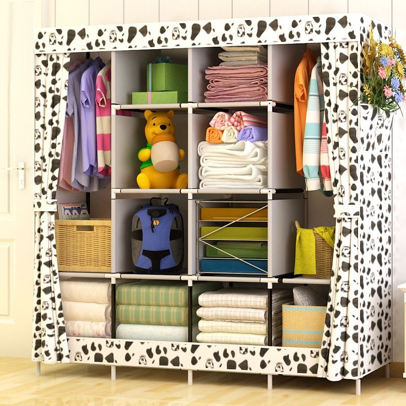 Modern Simple Wardrobe Household Fabric <font><b>Folding</b></font> Cloth Closet Storage Assembly King Size Reinforcement Combination Simple Cabinet