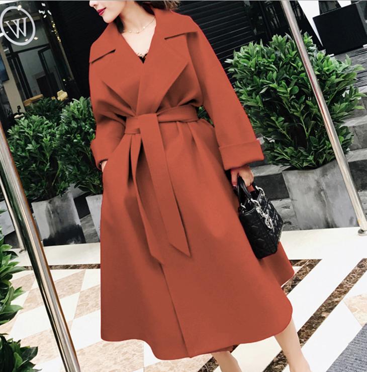 2017 Winter Women Coat Fashion Belt Closed waist Elegant Red Coat Outerwear coat