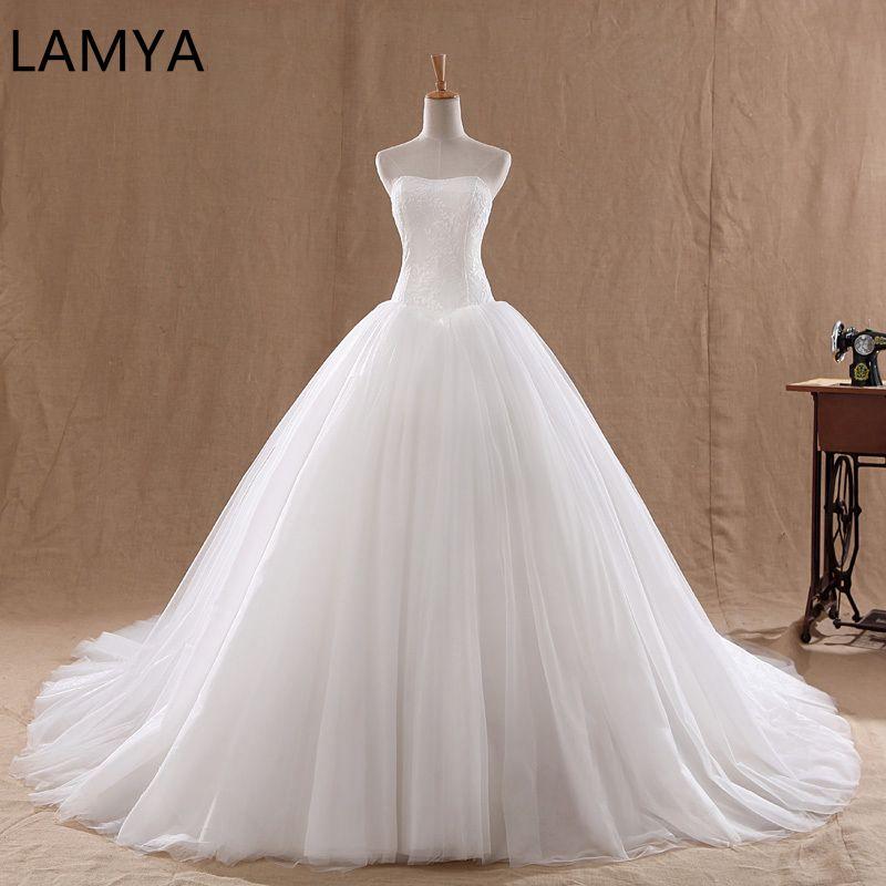 LAMYA Court Train robe de mariée 2019 pas cher célébrité sans bretelles Vintage Tulle robe de mariée en Organza dentelle robes de mariée