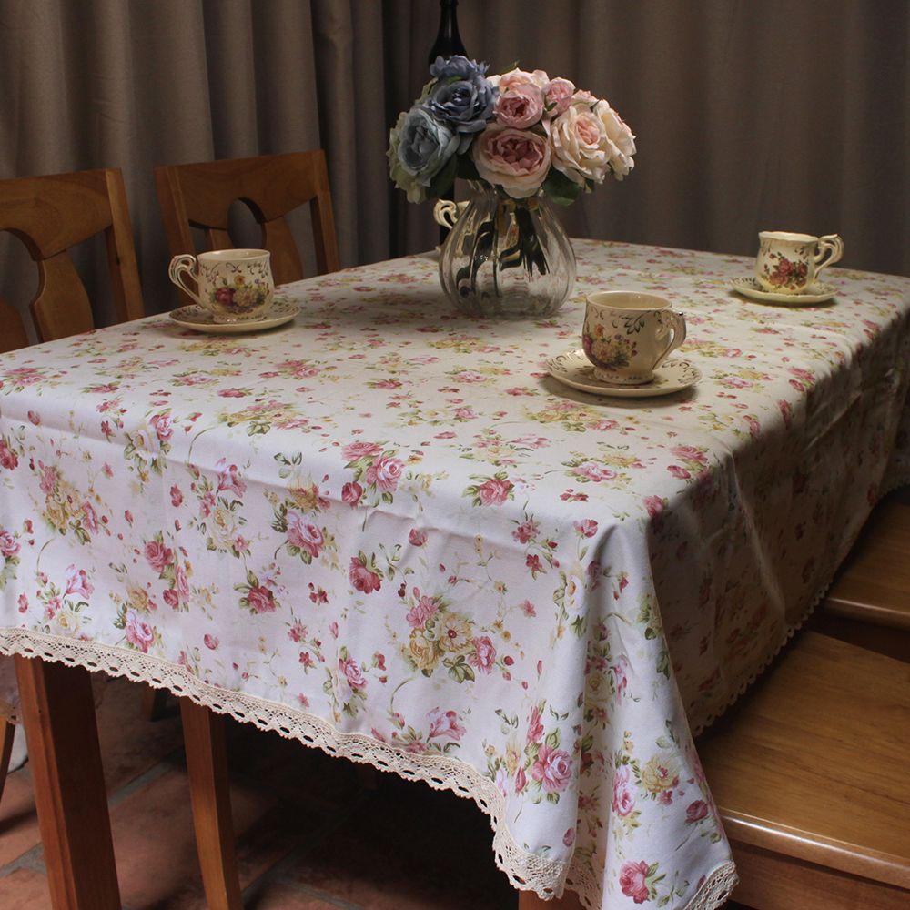 CURCYA Beige coton nappes pour la décoration de la maison pastorale Roses couverture anti-poussière pour Table dentelle nappe pour fête de mariage