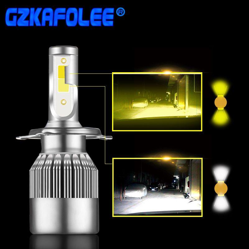 2 Pcs Super Bright Car Headlight Bulb H1 led H3 H4 H7 H1 Led 3000k 6000K Double Color Headlamp H8 H9 H11 9005 9006 HB3 HB4 880