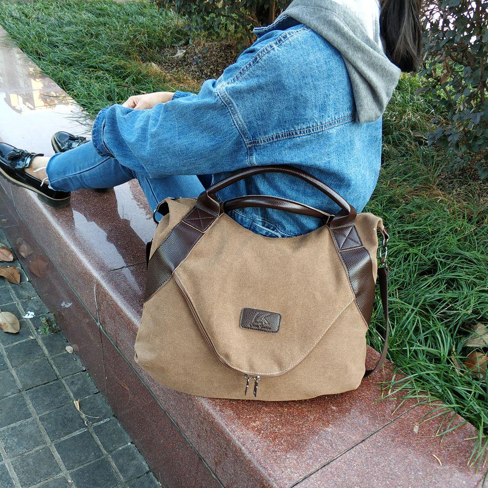 Vintage Woman Handbags Big Pocket Shoulder Crossbody Bags for Women Sac A Main Fashion Designer Canvas Casual Tote Shopper Bags