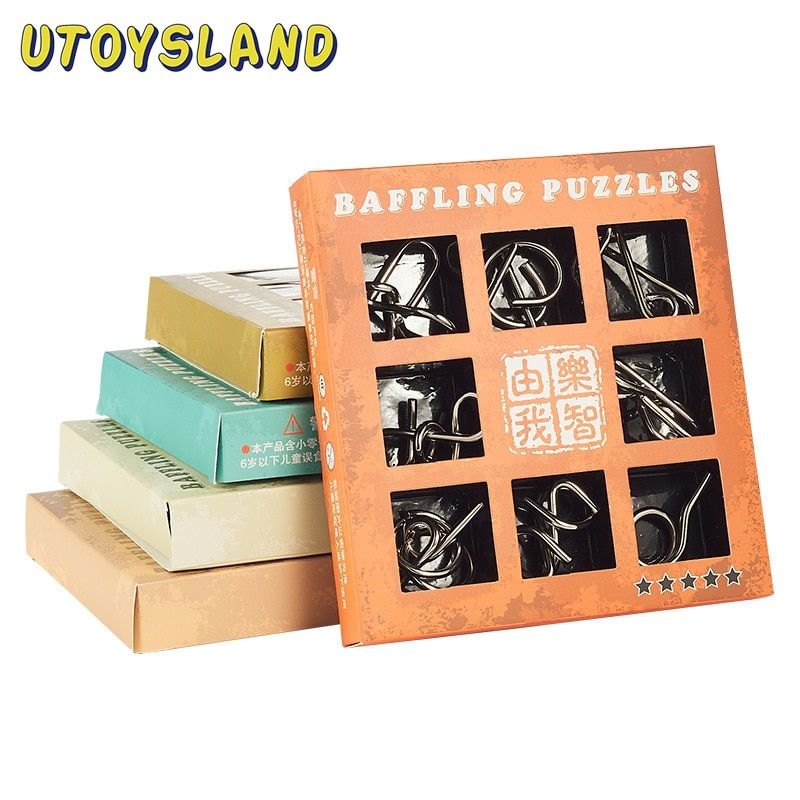 UTOYSLAND 9pcs/set Metal Puzzle Wire IQ Mind Brain Teaser Puzzle Kids Game Toys for Children Adults Baby Montessori Toys