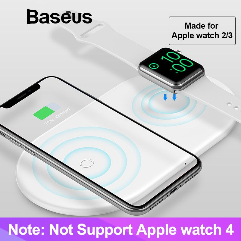 Baseus 2 dans 1 Sans Fil Chargeur Pad Pour Apple Montre 2/3 iPhone X Xs Max XR Né pour Les Fans D'apple (pas Soutien Apple Montre Série 4)