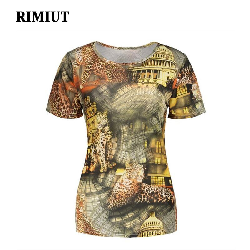 2017 Women Fashion Big Size Plus 3D Printed Tops Animal Leopard Vintage Punk Trendy Tee Short Sleeve T-shirt chemise femme