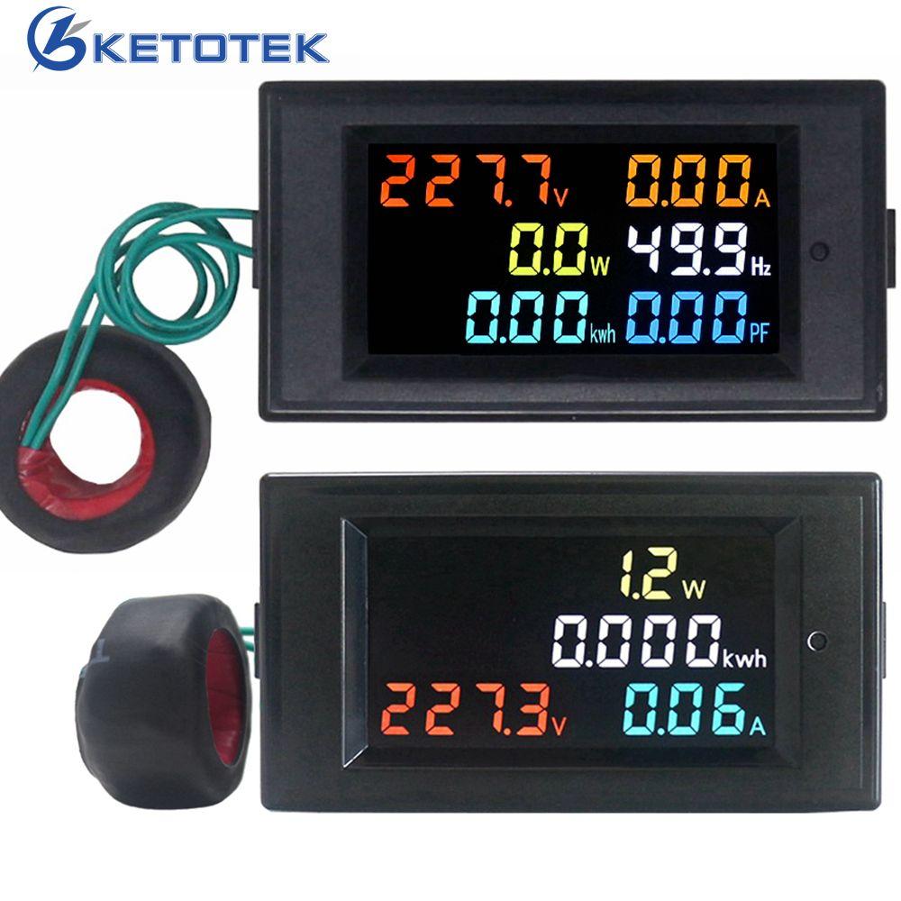 Voltmètre AC ampèremètre puissance compteur d'énergie AC 80.0-300.0 V/AC 200.0-450.0 V 0.01-100A HD écran couleur 180 degrés impeccable LED