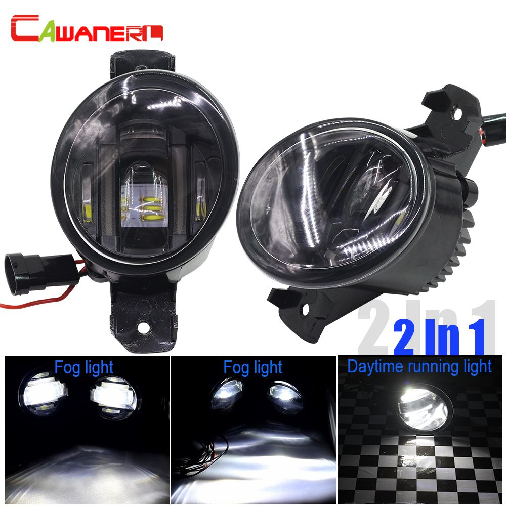 Cawanerl 2 X Car Styling LED Fog Light White DRL Daytime Running Lamp For Nissan Qashqai X-Trail NV400 Pathfinder Almera Altima