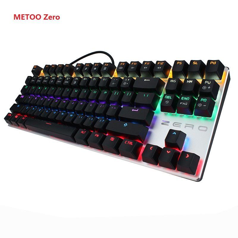 METOO Zero Mechanical keyboard 87/104 keys Black Blue Red switch Gaming keyboard teclado for Desktop Laptop Russian stickers