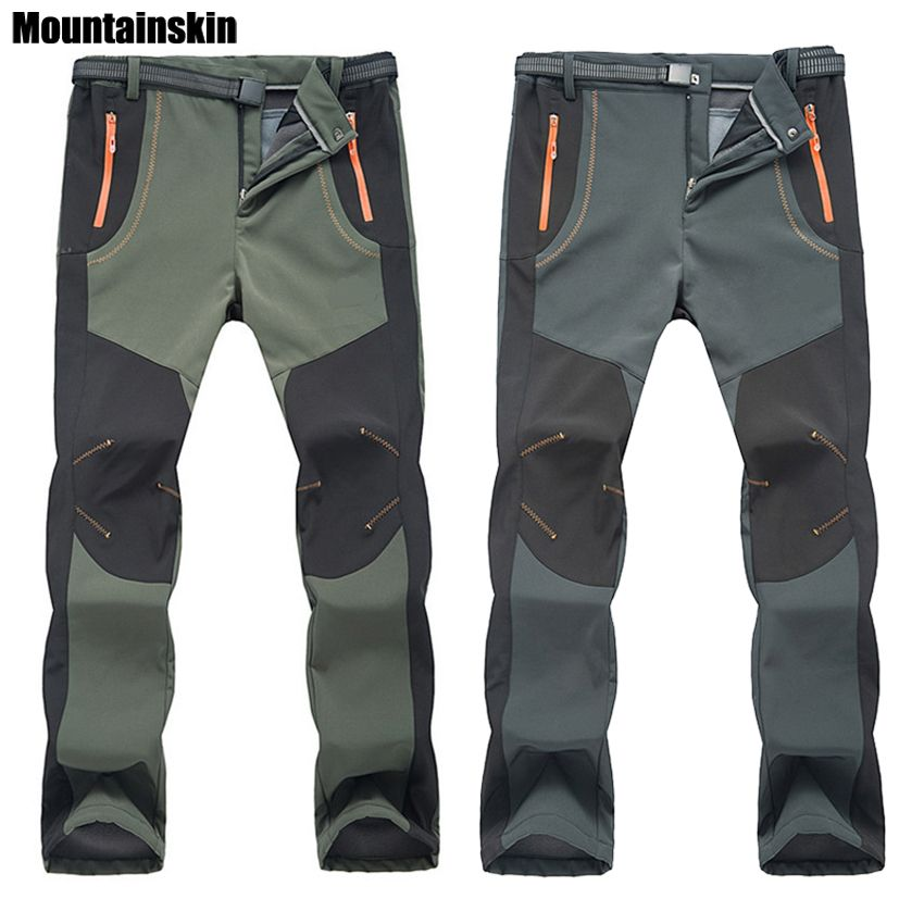 2017 New Winter Men Women Hiking Pants Outdoor Softshell Trousers Waterproof Windproof Thermal for Camping Ski Climbing RM032