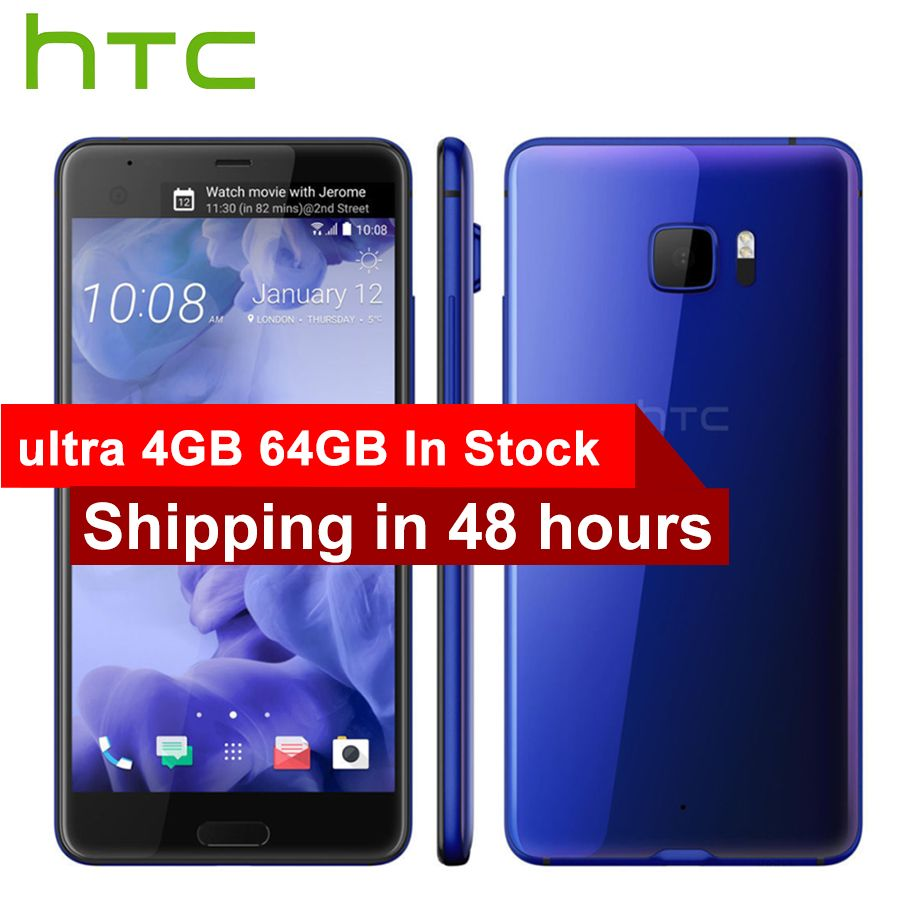 Original HTC U Ultra LTE Mobile Phone 4GB 64GB Snapdragon 821 Quad Core 5.7 inch 2560x1440px Android 7.0 3000mAh 16MP DualView