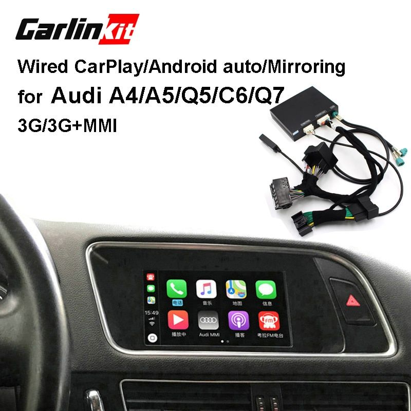 Carlinkit Verdrahtete Apple CarPlay Decoder für Audi A4 A5 Q5 C6 Q7 3G/3G + MMI muItimedia interface CarPlay & Android auto Nachrüstsatz