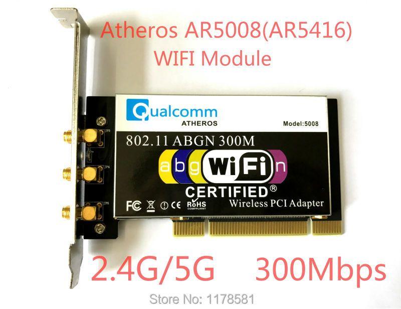 Atheros AR5008 AR5416 Dual Band 802.11a/b/g/n WIFI CARD PCI Module 300Mbps Wireless Card For Desktop+3 Pcs Antenna