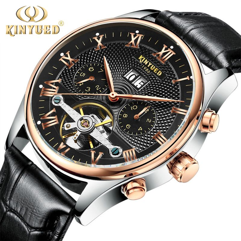 KINYUED Skeleton Automatic Watch Men Waterproof Top Brand Mens Mechanical Watches Leather Calendar <font><b>Rose</b></font> Gold Relogio Masculino